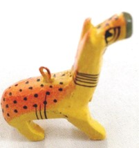 "Carved Painted Wood 2"" Giraffe Animal Figurine Ornament - $9.05"
