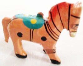 "Carved Painted Wood 2"" Horse Animal Figurine Or... - $9.05"
