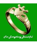 Claddagh Crown Heart Design Mens 9K Yellow Gold... - $445.00