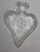 "Clear 4"" Candy Peanut Card Party SPADE Dish Pressed Glass - $6.98"