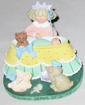 "Hallmark 4"" Baby Welcome Figurine w Mother Rabbit Bear Dog Birds - $17.96"