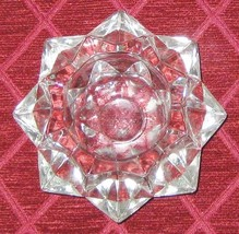 """Heavy Star Shaped 4"""" Pressed Clear Glass Candle... - $10.31"""