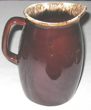"Hull USA 7"" Stoneware Brown Pitcher w Specks  - $18.05"