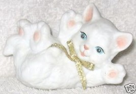 Kitten laying on back, paws up, beaufitul ceram... - $6.08