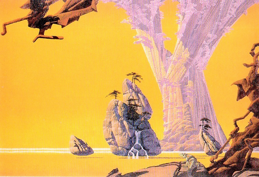 Primary image for Roger Dean Yellow City Postcard Pomegranate Publications NEW - 1991