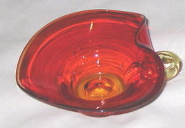 "Red-Amber 5"" Art Glass Candy Dish - $21.11"