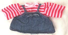 "Red White Stripe 5"" Underarm Pinifore Shirt Doll Clothes w Denim Bottom - $9.05"
