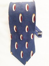 "Silk BILL BLASS Blue Multi Geometric Oval Print 4 X 56"" Necktie Tie - $9.41"