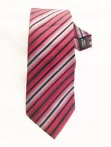 """Silk KENNETH COLE Burgandy Red Gray Black Stripe 3 1/4 X 60"""" Necktie Tie - $8.51"""