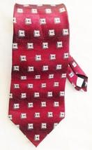 "Silk PIERRE CARDIN Burgandy Red Geometric Print 4 X 60"" Necktie Tie - $12.11"