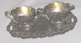 Silvertone Ornate Metal Bombay Cream & Sugar on... - $15.17