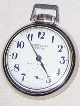 "Vintage 2"" Running WESTCLOX Skotty Shock Resistant Pocket Watch Clock - $54.28"
