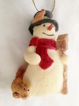 """White 4"""" Snowman Figurine Decoration With Bird House & Squirrel - $9.05"""