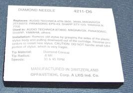 4211-D6 STYLUS NEEDLE for JVC models LA-100 LA-120 LF-210 with AT3600 211-D6 image 2