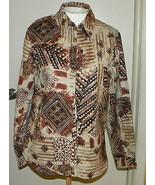 Chico's women's button front lace accent long sleeve blouse shirt sz 1 (... - $12.99