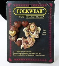 Boyds bears folkwear 1995 angel fairy heart brooch pin #26319 handmade vintage - $4.95