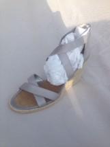Women's Ralph Lauren Silver Wedge Espadrilles Size 10 New - $34.64