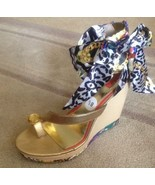 Womens Scarf Print Wedge Sandals By Falchi Size 8.5 New - $29.69
