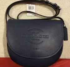COACH Hudson Midnight Blue Leather Crossbody Handbag Purse Natural Smoot... - ₹13,177.15 INR