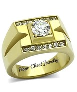 MEN'S GOLD TONE STAINLESS STEEL 1 CARAT CUBIC ZIRCONIA WEDDING RING SIZE... - $21.49