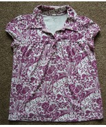 STYLE & CO. purple and white short sleeve STRETCH  Top sz P/S - $1.99