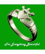 Claddagh Crown Heart Design Mens 9K White Gold ... - $460.00
