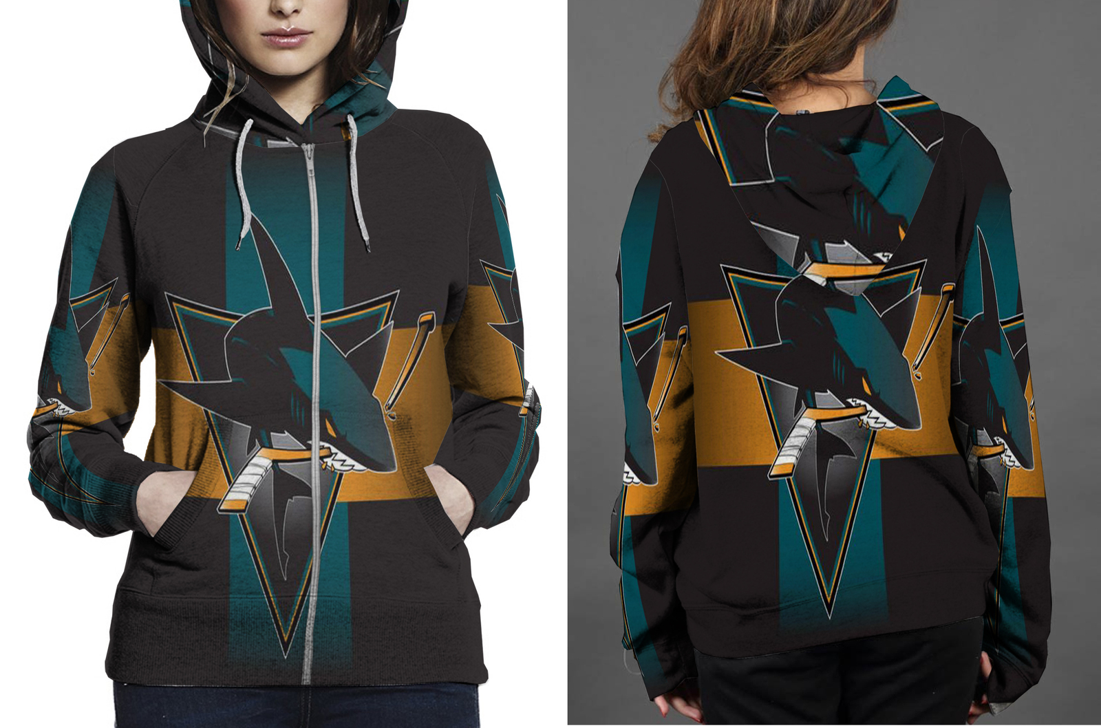 San Jose Sharks HOODIE ZIPPER FULLPRINT FOR WOMEN