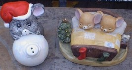 Mouse on Christmas Ornament and 2 Mice in Bed Ceramic Figure - $20.00