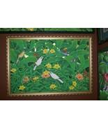 Huge Hand painted Framed Original Canvas Signed Art Alameda Flowers Bird... - $569.99