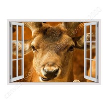 CANVAS (Rolled) Red Deer In Wild Life Fake 3D Window Wall Decor Paintings - $8.69+