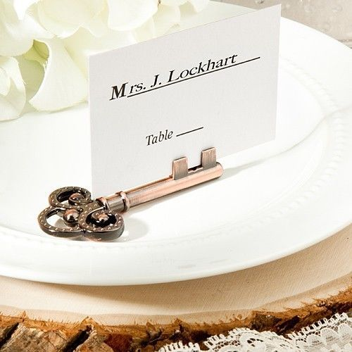 Vintage Inspired Skeleton Key Place Card & Photo Holders Wedding Favor Unique