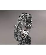 Platinum diamond vine and leaf wedding ring, engagement ring ADLR36B - $2,035.00
