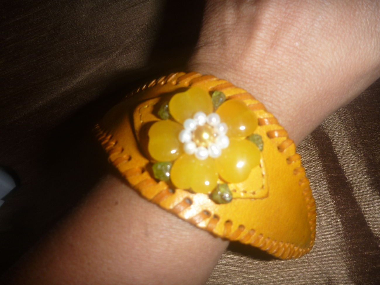 Primary image for Leather Cuff Bracelet with  Yellow Jade Flower Stones