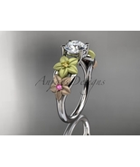 Three tone gold engagement ring, 14kt tri color gold floral unique engag... - $775.00