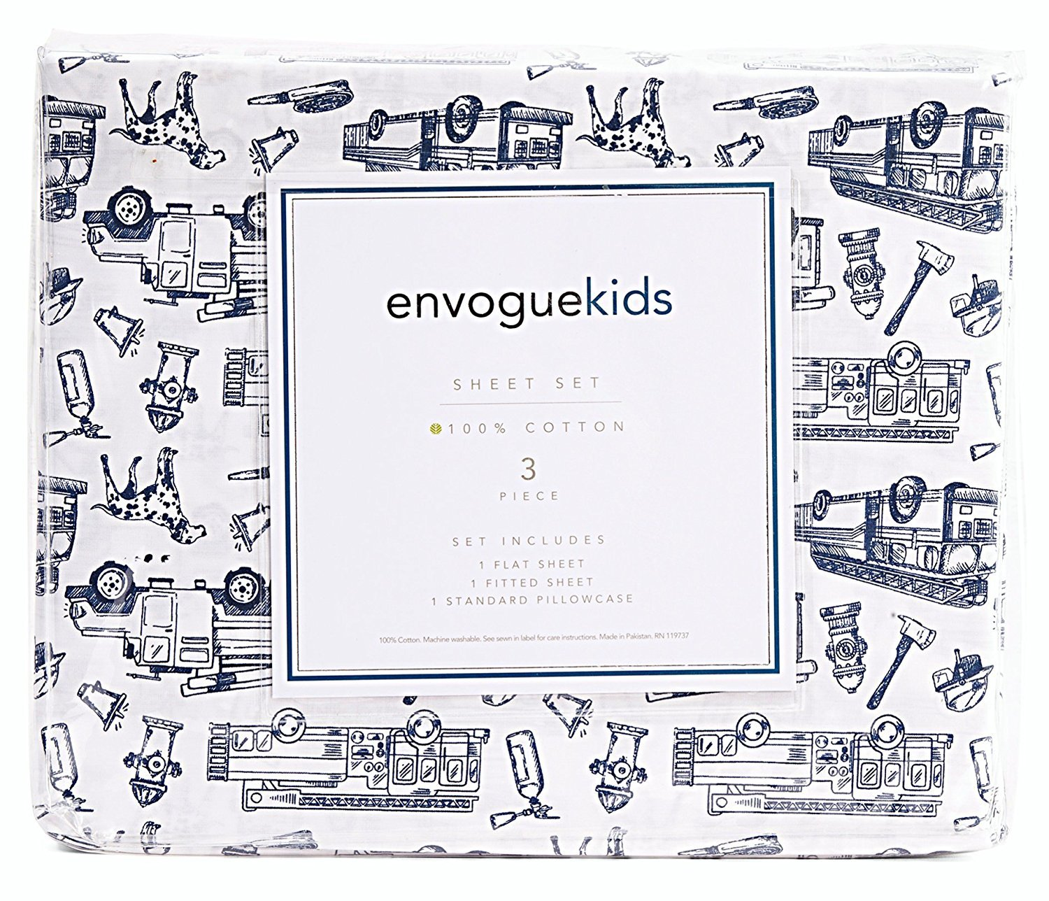Envogue Kids Navy Fire Trucks on White Cotton Sheet Set Full