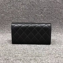 AUTH CHANEL BLACK QUILTED LAMBSKIN LARGE FLAP TRI-FOLD CLUTCH WALLET  image 3