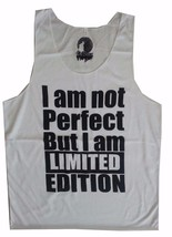 Men Tank Top sleeveless white  NOT PERFECT BUT I M LIMITED EDITION HUMOR... - €10,90 EUR