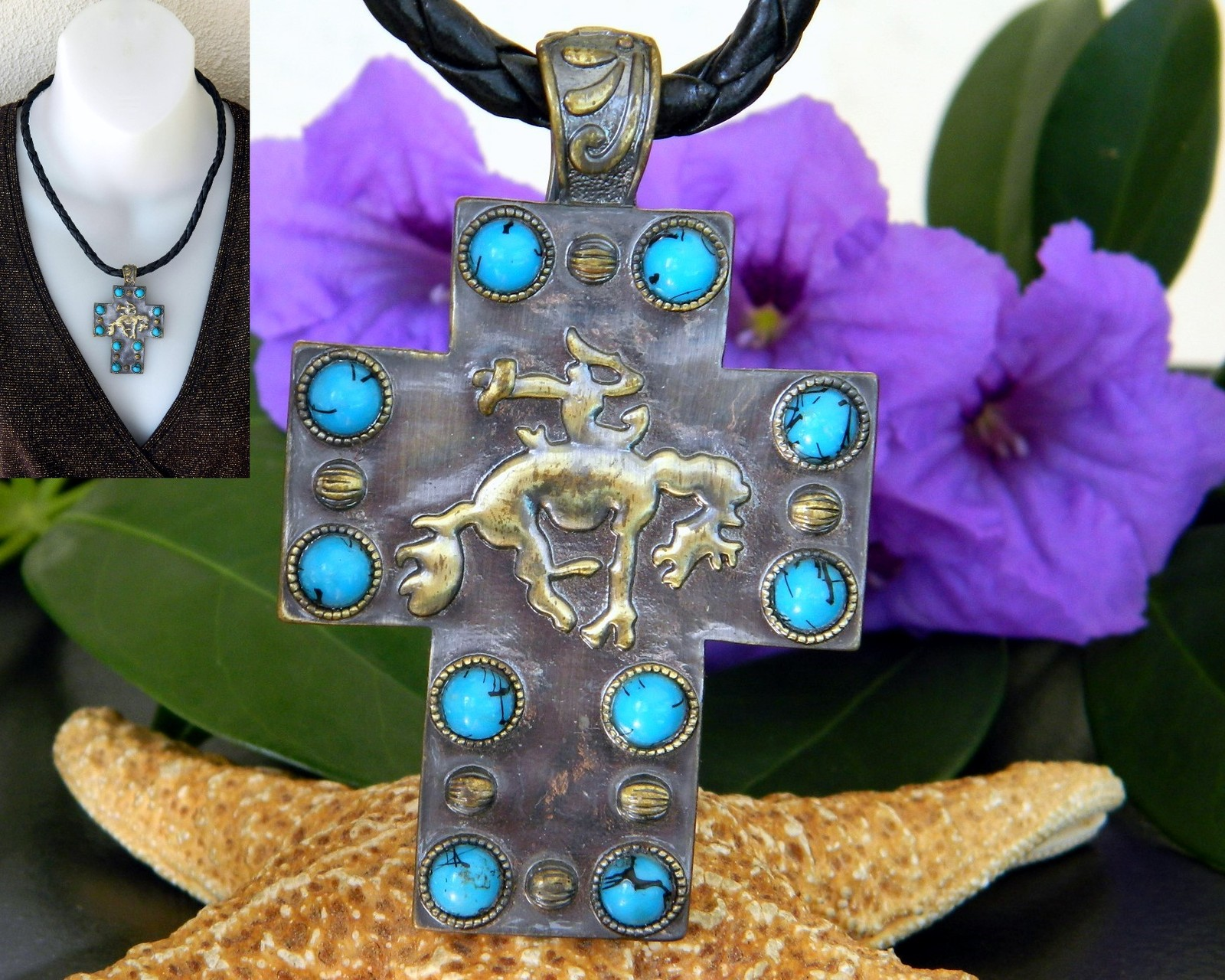Primary image for Bucking Bronco Horse Cross Pendant Necklace Turquoise Magnetic Slide