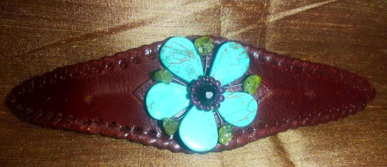 Leather Cuff Brown Bracelet with Turquoise Flower Stones