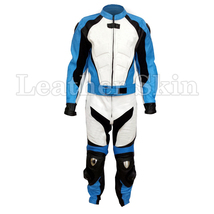 White Blue Stripes Motorcycle Biker Racing Premium Genuine Real Leather Jacket - $299.99