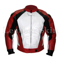 Red White Front Motorcycle Biker Racing Premium Genuine Real Pure Leather Jacket - $179.99