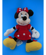 """Disney Minnie Mouse Plush Doll 9"""" Brightlt Colored Red velour Dress & Bow - $6.62"""