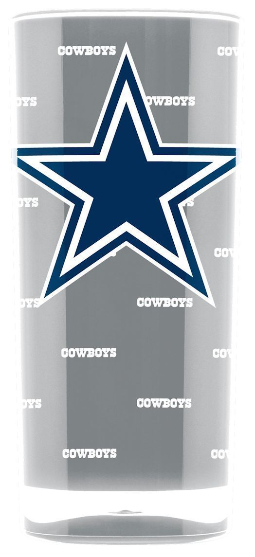DALLAS COWBOYS CRYSTAL CLEAR SQUARE INSULATED TUMBLER 16 OZ.  NFL FOOTBALL #1