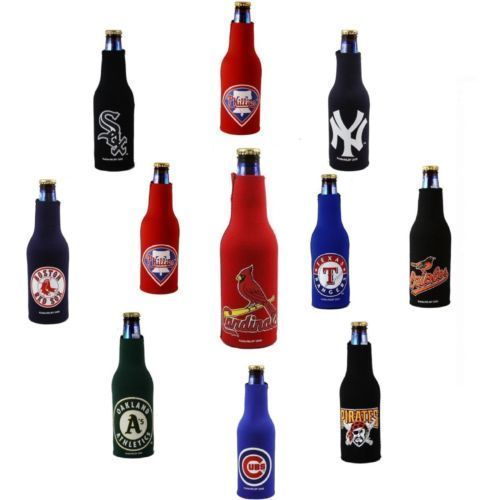 2 MLB MAJOR LEAGUE BASEBALL BEER SODA WATER BOTTLE ZIPPER KOOZIE COOLIE HOLDER