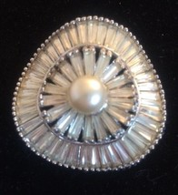 JOMAZ Vintage Rhinestone Ruffle Pin Center Pearl Brooch Tapered Baguettes  - $125.77