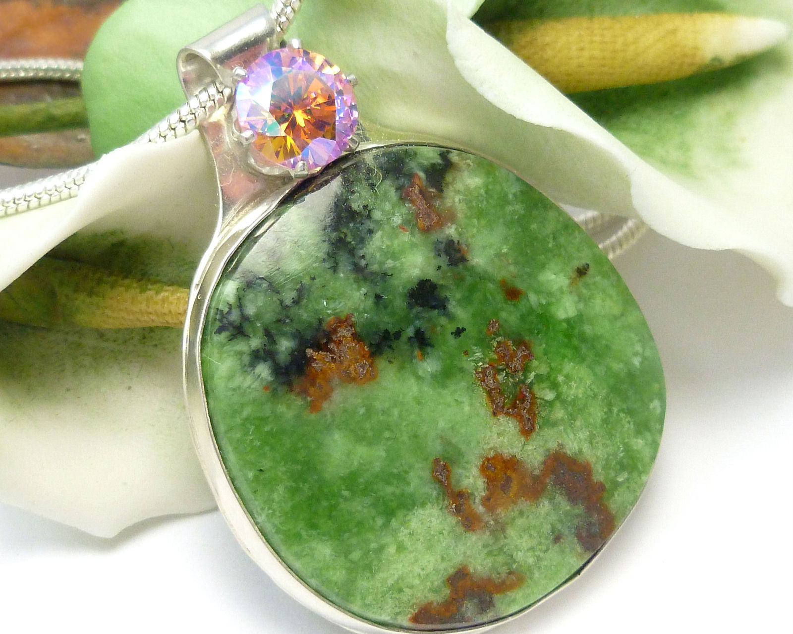 Primary image for  Natural Serpentine Gemstone Round Sterling Pendant Green Pink