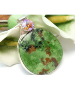 Natural Serpentine Gemstone Round Sterling Pendant Green Pink - $89.00