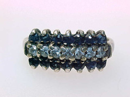 SAPPHIRE and CUBIC ZIRCONIA Vintage Ring in Sterling Silver - Size 7 1/2 - $95.00