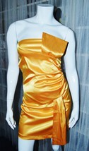 NEW Gold/Yellow Satin Short sleeveless Tube Dress. Small. - $23.00
