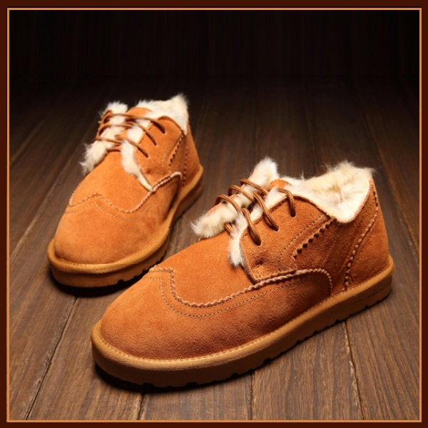 Rust Orange Leather Suede Flats Thick Fur Lined Padded Short Laced Unisex Shoes